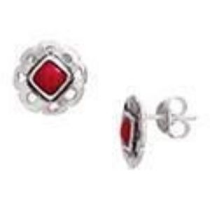 Silver and red coral earrings